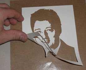Peeling off a Adhesive Backed Stencil